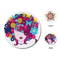 Beautiful Gothic Woman With Flowers And Butterflies Hair Clipart Playing Cards (round)