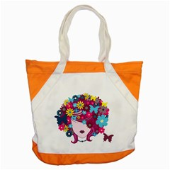 Beautiful Gothic Woman With Flowers And Butterflies Hair Clipart Accent Tote Bag