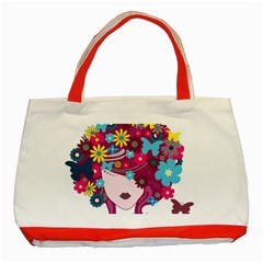 Beautiful Gothic Woman With Flowers And Butterflies Hair Clipart Classic Tote Bag (red)