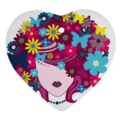 Beautiful Gothic Woman With Flowers And Butterflies Hair Clipart Heart Ornament (two Sides)