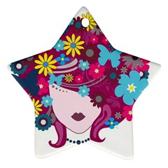 Beautiful Gothic Woman With Flowers And Butterflies Hair Clipart Star Ornament (two Sides)