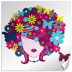 Beautiful Gothic Woman With Flowers And Butterflies Hair Clipart Canvas 12  x 12