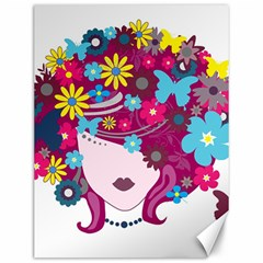 Beautiful Gothic Woman With Flowers And Butterflies Hair Clipart Canvas 12  X 16
