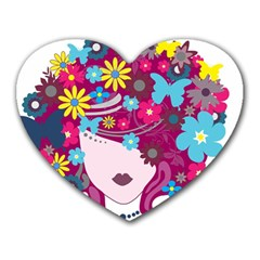 Beautiful Gothic Woman With Flowers And Butterflies Hair Clipart Heart Mousepads