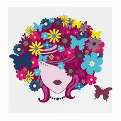 Beautiful Gothic Woman With Flowers And Butterflies Hair Clipart Medium Glasses Cloth (2-Side)