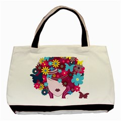 Beautiful Gothic Woman With Flowers And Butterflies Hair Clipart Basic Tote Bag (Two Sides)
