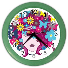 Beautiful Gothic Woman With Flowers And Butterflies Hair Clipart Color Wall Clocks