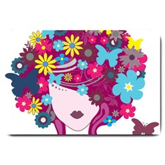 Beautiful Gothic Woman With Flowers And Butterflies Hair Clipart Large Doormat