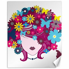 Beautiful Gothic Woman With Flowers And Butterflies Hair Clipart Canvas 11  x 14