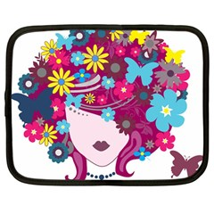 Beautiful Gothic Woman With Flowers And Butterflies Hair Clipart Netbook Case (large)