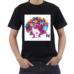 Beautiful Gothic Woman With Flowers And Butterflies Hair Clipart Men s T Shirt (black)