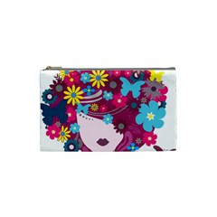 Beautiful Gothic Woman With Flowers And Butterflies Hair Clipart Cosmetic Bag (Small)