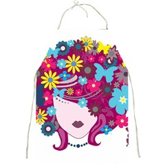 Beautiful Gothic Woman With Flowers And Butterflies Hair Clipart Full Print Aprons