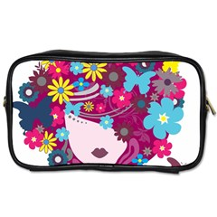 Beautiful Gothic Woman With Flowers And Butterflies Hair Clipart Toiletries Bags
