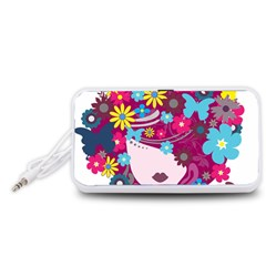 Beautiful Gothic Woman With Flowers And Butterflies Hair Clipart Portable Speaker (white)