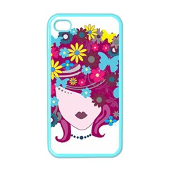 Beautiful Gothic Woman With Flowers And Butterflies Hair Clipart Apple Iphone 4 Case (color)