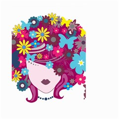 Beautiful Gothic Woman With Flowers And Butterflies Hair Clipart Small Garden Flag (Two Sides)