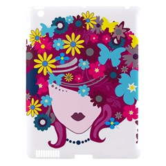 Beautiful Gothic Woman With Flowers And Butterflies Hair Clipart Apple iPad 3/4 Hardshell Case (Compatible with Smart Cover)