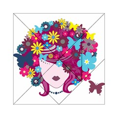 Beautiful Gothic Woman With Flowers And Butterflies Hair Clipart Acrylic Tangram Puzzle (6  X 6 )