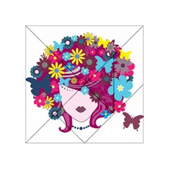 Beautiful Gothic Woman With Flowers And Butterflies Hair Clipart Acrylic Tangram Puzzle (4  x 4 )