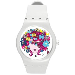 Beautiful Gothic Woman With Flowers And Butterflies Hair Clipart Round Plastic Sport Watch (m)