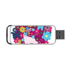 Beautiful Gothic Woman With Flowers And Butterflies Hair Clipart Portable Usb Flash (one Side)