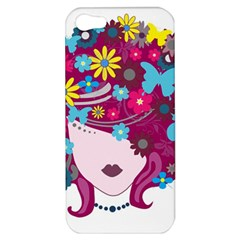 Beautiful Gothic Woman With Flowers And Butterflies Hair Clipart Apple Iphone 5 Hardshell Case
