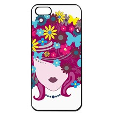 Beautiful Gothic Woman With Flowers And Butterflies Hair Clipart Apple Iphone 5 Seamless Case (black)
