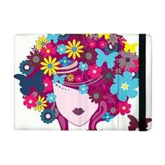 Beautiful Gothic Woman With Flowers And Butterflies Hair Clipart Apple iPad Mini Flip Case