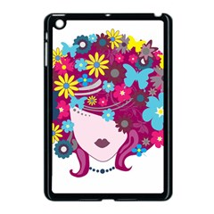 Beautiful Gothic Woman With Flowers And Butterflies Hair Clipart Apple iPad Mini Case (Black)