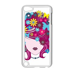 Beautiful Gothic Woman With Flowers And Butterflies Hair Clipart Apple iPod Touch 5 Case (White)