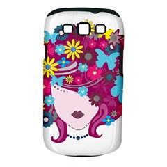 Beautiful Gothic Woman With Flowers And Butterflies Hair Clipart Samsung Galaxy S III Classic Hardshell Case (PC+Silicone)