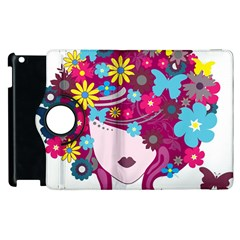 Beautiful Gothic Woman With Flowers And Butterflies Hair Clipart Apple iPad 2 Flip 360 Case