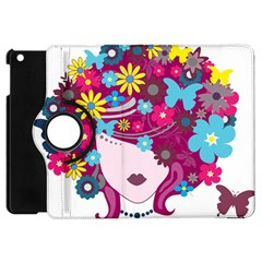 Beautiful Gothic Woman With Flowers And Butterflies Hair Clipart Apple iPad Mini Flip 360 Case