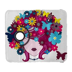 Beautiful Gothic Woman With Flowers And Butterflies Hair Clipart Galaxy S3 (flip/folio)