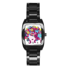 Beautiful Gothic Woman With Flowers And Butterflies Hair Clipart Stainless Steel Barrel Watch