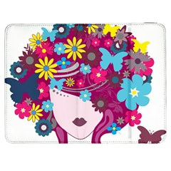 Beautiful Gothic Woman With Flowers And Butterflies Hair Clipart Samsung Galaxy Tab 7  P1000 Flip Case