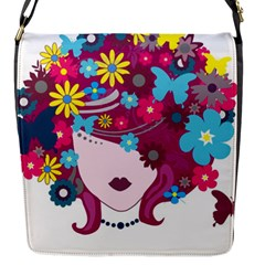 Beautiful Gothic Woman With Flowers And Butterflies Hair Clipart Flap Messenger Bag (S)