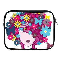 Beautiful Gothic Woman With Flowers And Butterflies Hair Clipart Apple Ipad 2/3/4 Zipper Cases