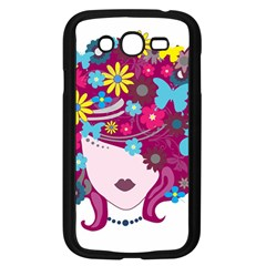 Beautiful Gothic Woman With Flowers And Butterflies Hair Clipart Samsung Galaxy Grand Duos I9082 Case (black)