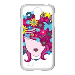 Beautiful Gothic Woman With Flowers And Butterflies Hair Clipart Samsung Galaxy S4 I9500/ I9505 Case (white)