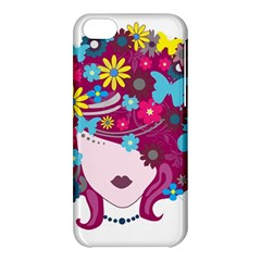 Beautiful Gothic Woman With Flowers And Butterflies Hair Clipart Apple Iphone 5c Hardshell Case