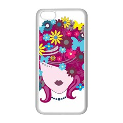 Beautiful Gothic Woman With Flowers And Butterflies Hair Clipart Apple Iphone 5c Seamless Case (white)
