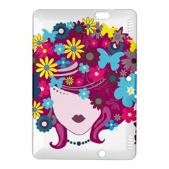 Beautiful Gothic Woman With Flowers And Butterflies Hair Clipart Kindle Fire Hdx 8 9  Hardshell Case