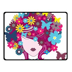 Beautiful Gothic Woman With Flowers And Butterflies Hair Clipart Double Sided Fleece Blanket (Small)
