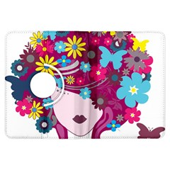 Beautiful Gothic Woman With Flowers And Butterflies Hair Clipart Kindle Fire HDX Flip 360 Case