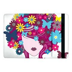 Beautiful Gothic Woman With Flowers And Butterflies Hair Clipart Samsung Galaxy Tab Pro 10.1  Flip Case