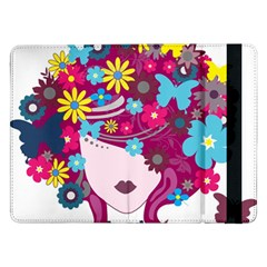 Beautiful Gothic Woman With Flowers And Butterflies Hair Clipart Samsung Galaxy Tab Pro 12.2  Flip Case