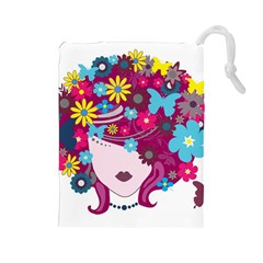 Beautiful Gothic Woman With Flowers And Butterflies Hair Clipart Drawstring Pouches (Large)