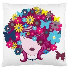 Beautiful Gothic Woman With Flowers And Butterflies Hair Clipart Large Flano Cushion Case (Two Sides)
